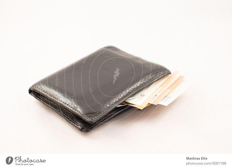 Geldbörse mit Euro Bargeld Geldinstitut Portemonnaie Leder Eurozeichen gelb orange schwarz geizig verschwenden Money Farbfoto Studioaufnahme Nahaufnahme