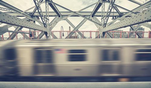 Ferien & Urlaub & Reisen Bewegung Arbeit & Erwerbstätigkeit gehen Verkehr retro USA Brücke Geschwindigkeit Eisenbahn Grafik u. Illustration rennen