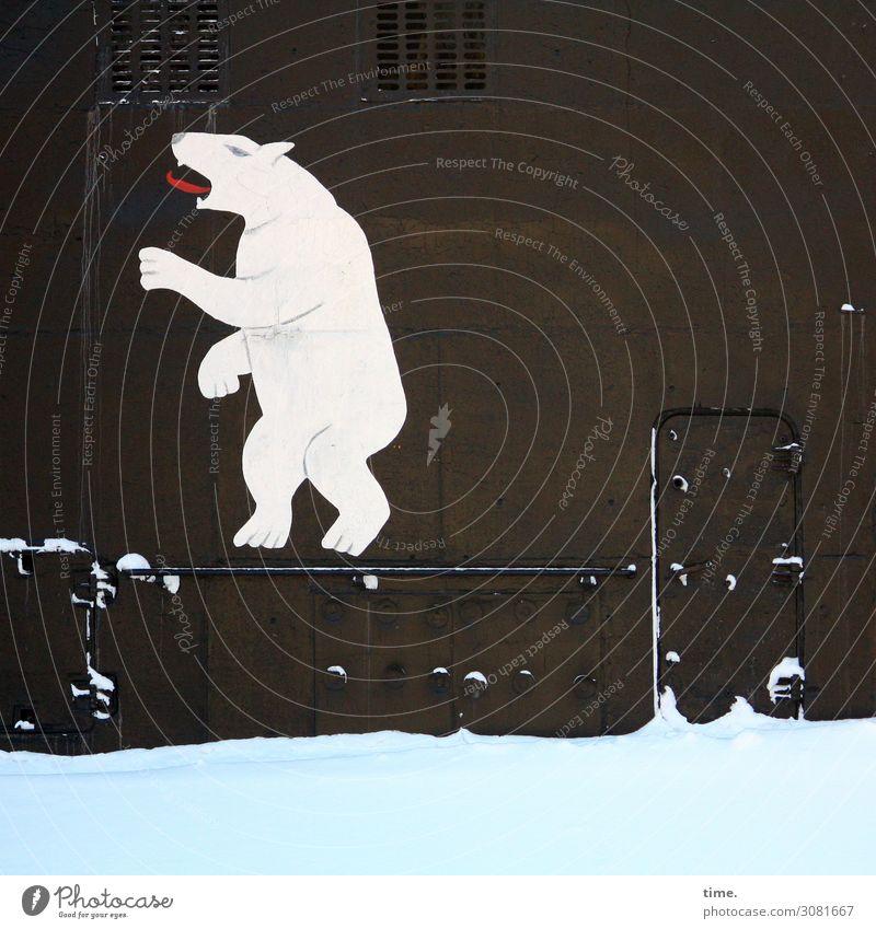 Eisbär outside marine uboot eisbär russisch hafen metall Schifffahrt zeichnung symbol logo icon tür stehen schnee winter kalt zunge tier ungewöhnlich