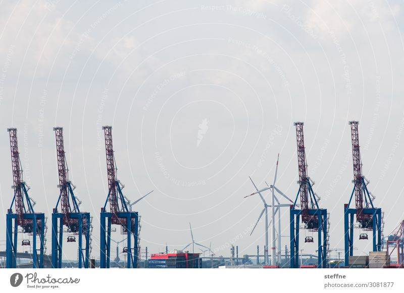 Logistik Schifffahrt Hafen Container Güterverkehr & Logistik Spedition Hafenkran Hamburg Hamburger Hafen Windkraftanlage Farbfoto Außenaufnahme
