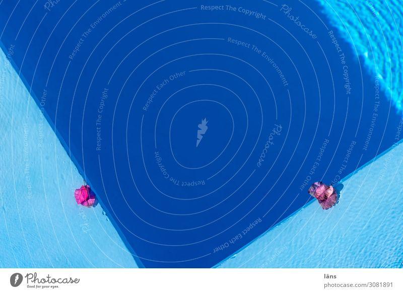 am Pool Schwimmbad Ferien & Urlaub & Reisen Tourismus Sonne Strand Insel Santorin Griechenland rosa türkis Vorfreude Beginn ästhetisch Erwartung