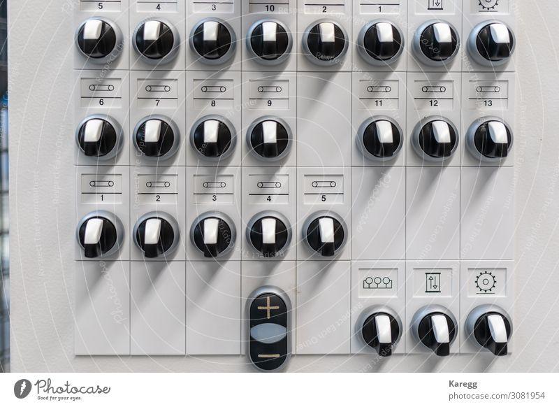 Schaltpult weiß schwarz Bewegung Business grau Arbeit & Erwerbstätigkeit Energiewirtschaft Technik & Technologie Kraft Industrie Industriefotografie