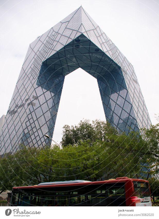Central Television Städtereise Architektur Himmel schlechtes Wetter Baum Peking Stadtzentrum Hochhaus Bürogebäude Fassade Sehenswürdigkeit