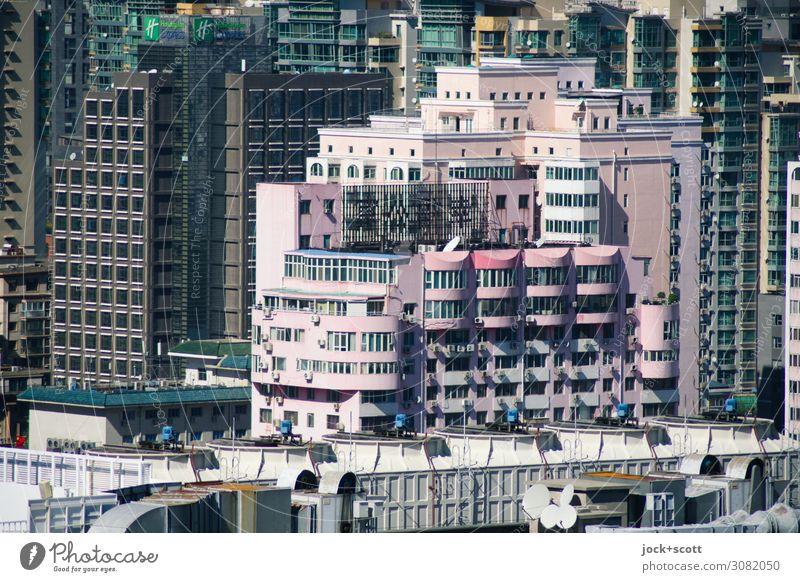 Funktion trifft Ästhetik Städtereise Schönes Wetter Peking Stadtzentrum Hochhaus Stadthaus Gebäude Plattenbau Bürogebäude Fassade groß hoch einzigartig modern