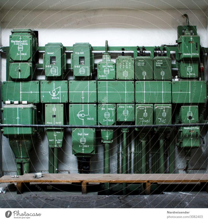 Stromverteiler alt grün dunkel Metall Energiewirtschaft Technik & Technologie Vergänglichkeit Industrie Wandel & Veränderung Elektrizität Vergangenheit Zeichen