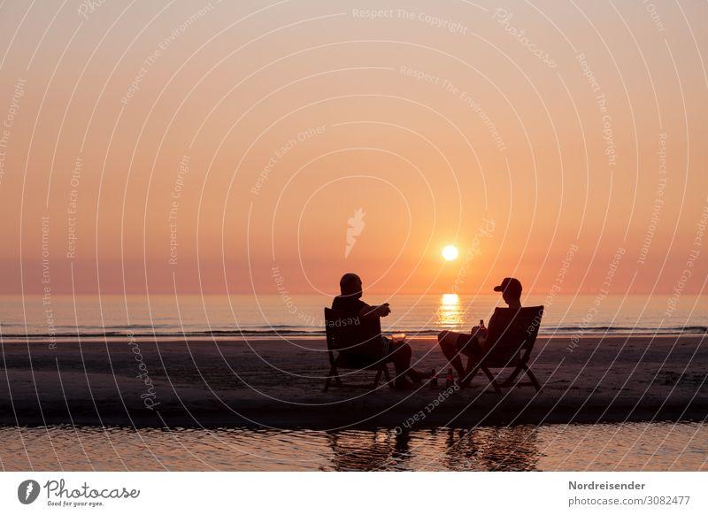 Bierchen auf der Sandbank trinken Lifestyle Ferien & Urlaub & Reisen Tourismus Sommer Strand Meer Mensch maskulin Mann Erwachsene 2 Wasser Sonne Schönes Wetter