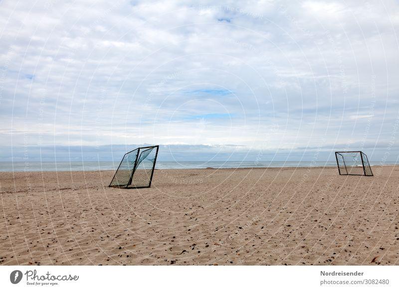 Fußballplatz am Strand Freizeit & Hobby Spielen Ferien & Urlaub & Reisen Tourismus Sommerurlaub Meer Sport Landschaft Sand Wasser Himmel Wolken Wind Nordsee