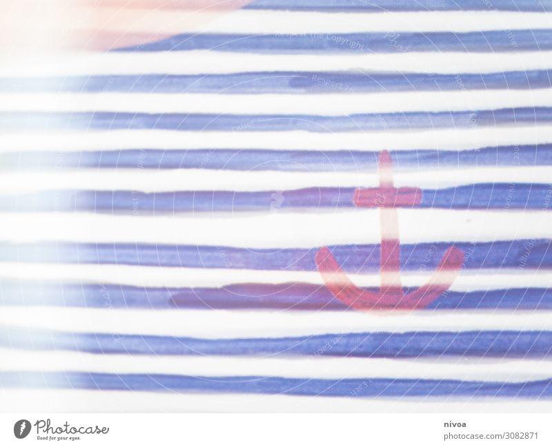 Anker Linien blau Gemälde Zeichnung Kunst streichen Farbe Hafen maritim zeichnen Pinselblume malen Kunstwerk Künstler Farbfoto Kreativität Anstreicher