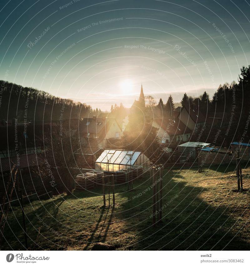Sonne überm Südharz Umwelt Natur Landschaft Pflanze Luft Himmel Wolken Horizont Schönes Wetter Baum Garten Wiese Wald Gonna Sachsen-Anhalt Deutschland Dorf Haus