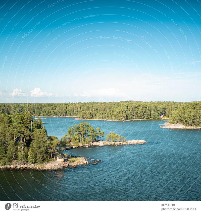 Ostsee Inseln mit kleiner Brücke in Finnland Ferien & Urlaub & Reisen Natur Sommer Pflanze Sonne Meer Wald Umwelt Küste Tourismus See Felsen Horizont Wellen