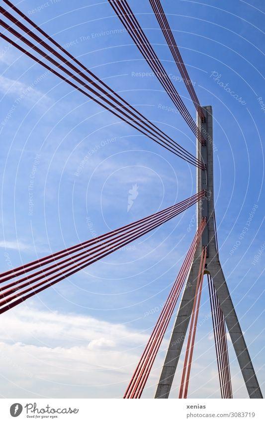 Niederrheinbrücke Himmel blau weiß rot Wolken Architektur Brücke hoch Beton Seil Bauwerk Rhein Pylon Bundesstraße Wesel Schrägseilbrücke