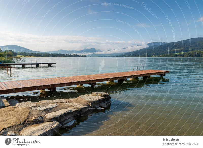 See mit Holzstegen harmonisch Zufriedenheit Erholung ruhig Natur Landschaft Wolken Horizont Sommer Herbst Schönes Wetter Alpen Berge u. Gebirge Seeufer frei