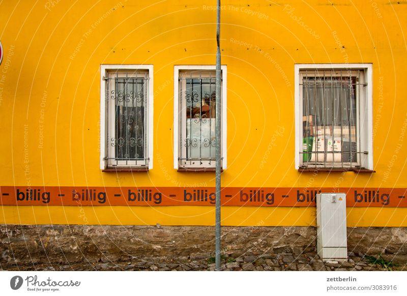 billig - billig - billig - billig - Billig verkaufen Ladengeschäft Schaufenster Werbung Werbebranche Fassade Fenster aschersleben Detailaufnahme Haus Kleinstadt