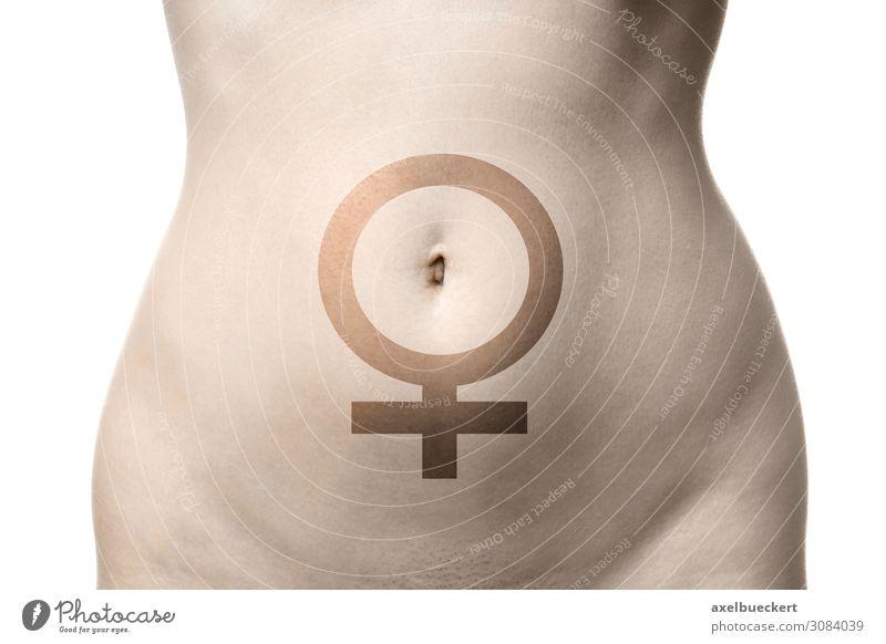 Bauch einer Frau mit Venussymbol schön Gesundheit Gesundheitswesen Mensch feminin Junge Frau Jugendliche Erwachsene Körper 1 18-30 Jahre Zeichen nackt schwanger
