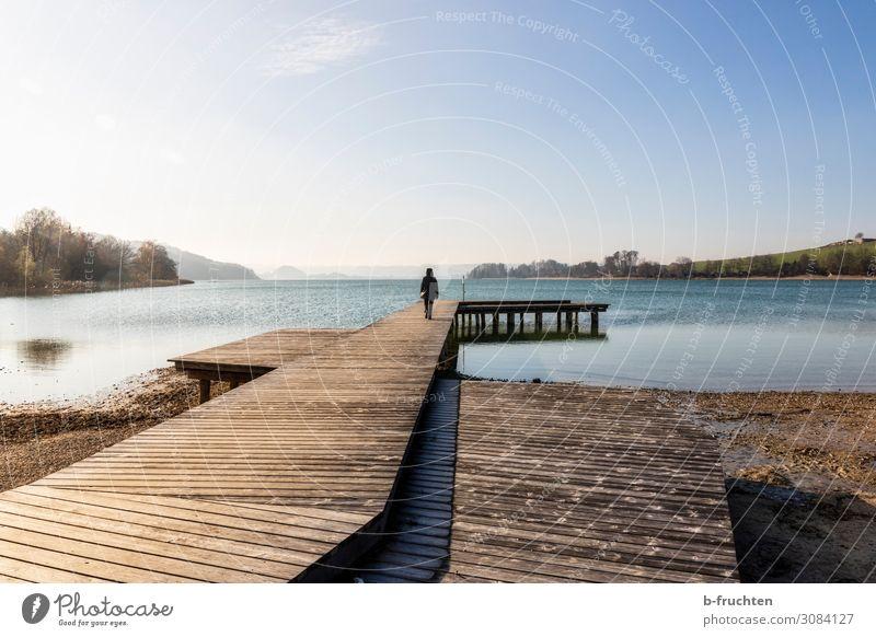 Einsamkeit Wellness Zufriedenheit Erholung ruhig Meditation Freizeit & Hobby Tourismus Freiheit 1 Mensch Herbst Seeufer Strand gehen genießen stehen frei Glaube