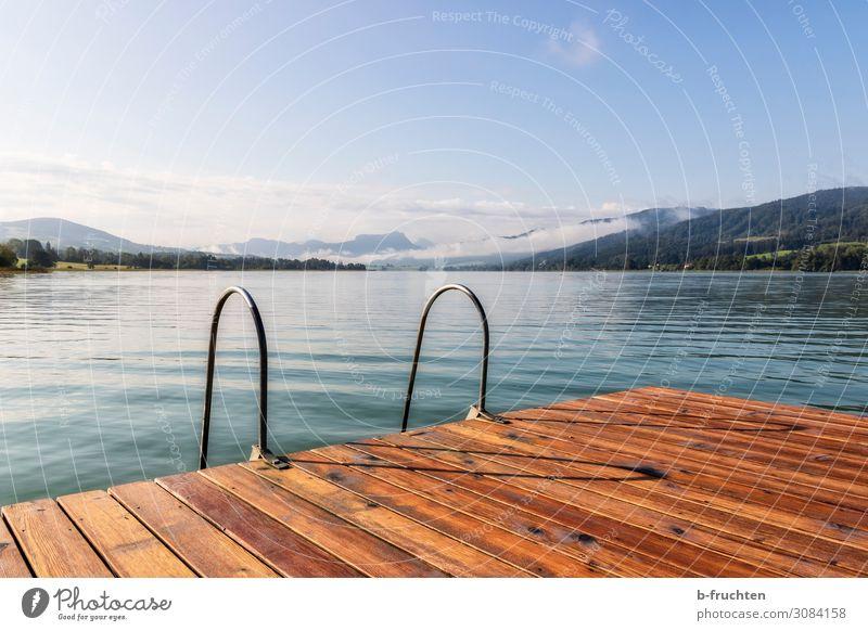 Badezeit harmonisch Erholung ruhig Natur Landschaft Himmel Sommer Herbst Schönes Wetter Alpen Seeufer frei Einsamkeit Idylle Österreich Steg Schwimmen & Baden