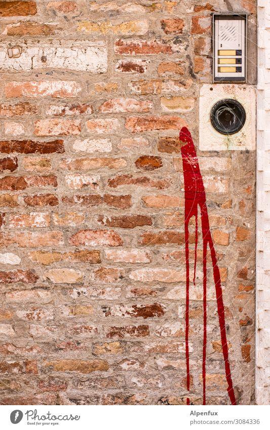 Nicht getroffen! Mauer Wand Namensschild Klingel Türspion Angst Ärger chaotisch Ende Farbe geheimnisvoll Gesellschaft (Soziologie) Glaube Religion & Glaube