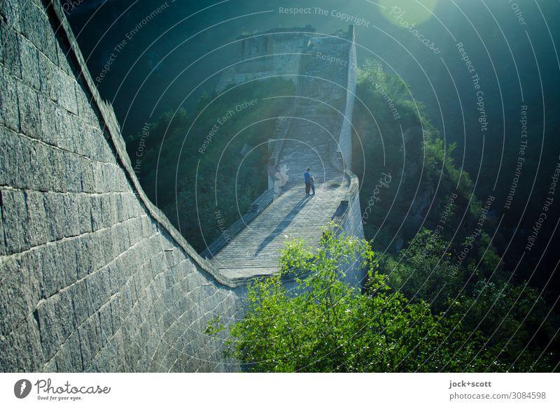 zàijiàn! Auf Wiedersehen auf der großen Mauer Ferne Architektur Weltkulturerbe Schönes Wetter Wärme Baum Berge u. Gebirge Peking Bauwerk Sehenswürdigkeit