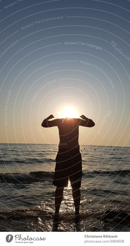 Kopflos der Sonne entgegen Mensch maskulin Mann Erwachsene Partner Körper 1 30-45 Jahre Wasser Himmel Wolkenloser Himmel Sonnenaufgang Sonnenuntergang Sommer