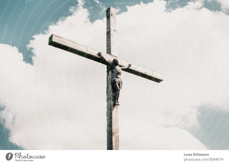 201809 Berg #7 Kunstwerk Himmel Wolken Sonne Kalzhofen Deutschland Europa Menschenleer Holz Kreuz hängen blau grau silber Kraft Vertrauen Liebe friedlich Güte