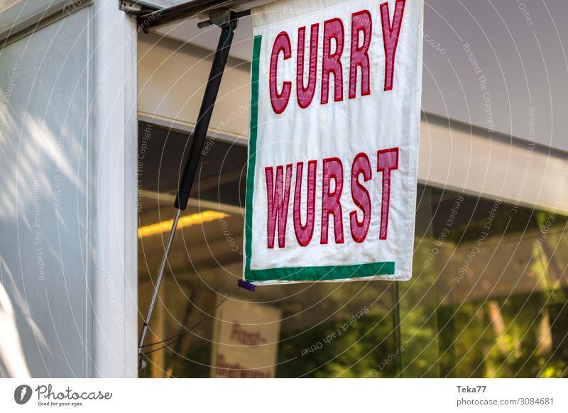 Currwurstbude Lebensmittel Fleisch Wurstwaren Ernährung Mittagessen ästhetisch Currywurst Farbfoto Außenaufnahme