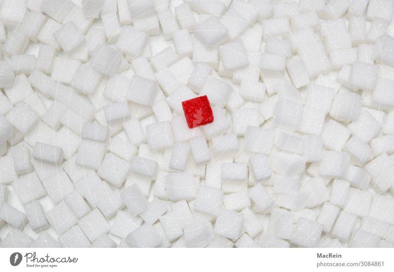 Würfelzucker Lebensmittel Ernährung Krankheit süß Stapel gesundheitsschädlich Symbole & Metaphern ungesund Zucker weiß rot nebeneinander Studioaufnahme