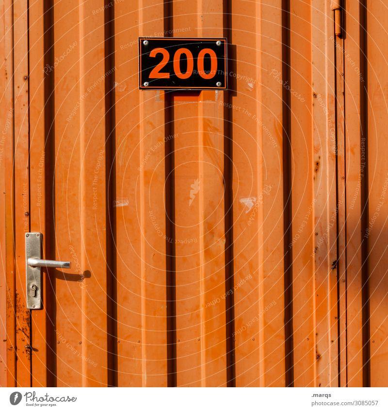 200 Baustelle Tür Bauwagen Metall Ziffern & Zahlen Schilder & Markierungen orange schwarz Ordnung Farbfoto Außenaufnahme Menschenleer Textfreiraum Mitte