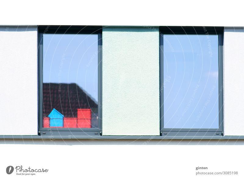 Kunststoffbehälter hinter dem Fenster Werkzeug Architektur Fassade eckig einfach weiß Behälter u. Gefäße Dinge Boxen Werkzeugboxen Geschäftsgebäude Material