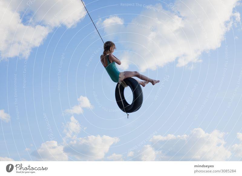 Schaukel in den Wolken Spielen schaukeln Sommer Sommerurlaub Strand Meer Insel Himmel Bewegung fliegen Ferien & Urlaub & Reisen Sport träumen Fröhlichkeit Glück