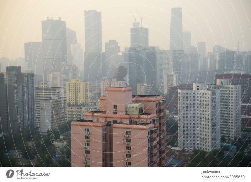 Trübe Aussicht Himmel Peking Hauptstadt Stadtzentrum Skyline Hochhaus Bankgebäude Bürogebäude Fassade authentisch modern Stimmung Smog Feinstaub