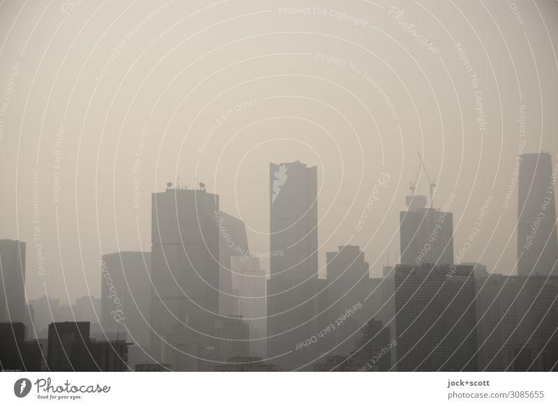 Smog City Alarm Himmel Klimawandel Peking Hauptstadt Stadtzentrum Skyline Hochhaus dreckig trist Hemmungslosigkeit Endzeitstimmung Feinstaub Luftverschmutzung