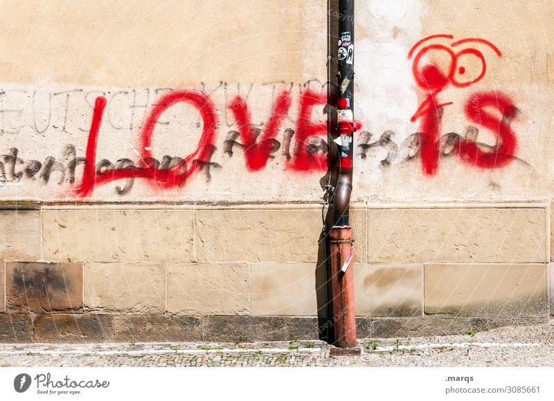 The Answer Mauer Wand Regenrinne Schriftzeichen Graffiti Liebe Verliebtheit Romantik Beratung Partnerschaft Farbfoto Außenaufnahme Menschenleer