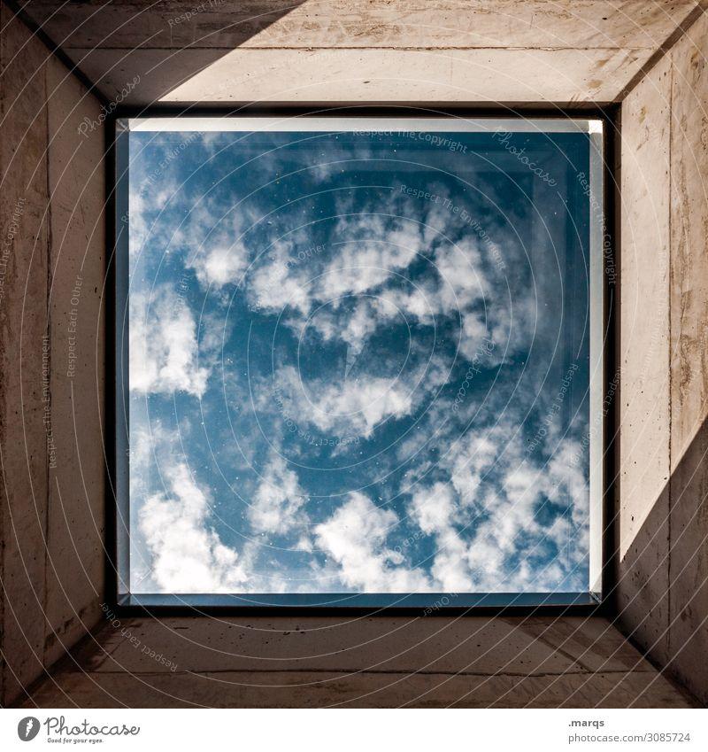 Ausblick Himmel Wolken Fenster oben Aussicht ästhetisch Schönes Wetter Zukunft Beton Rahmen