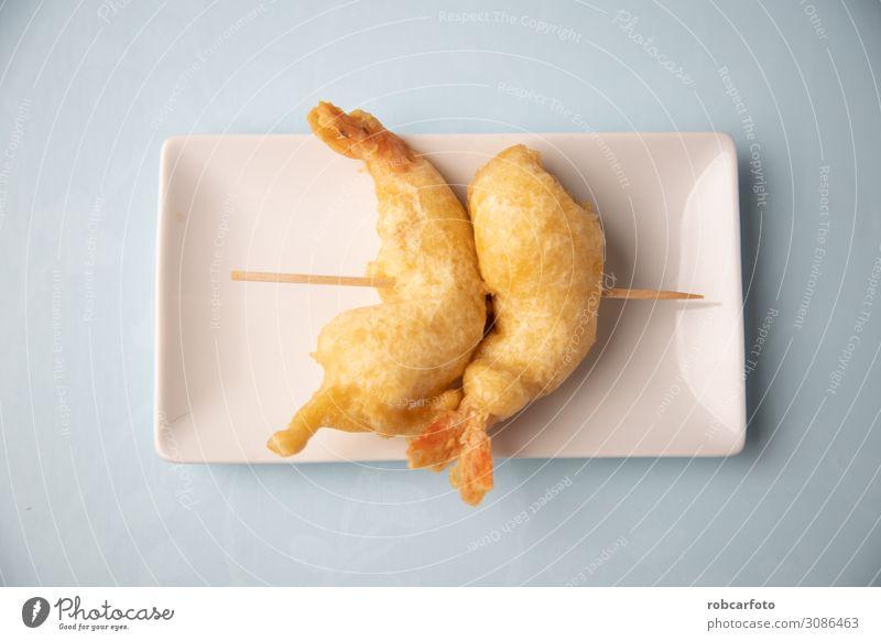 typisch spanische Tapa Meeresfrüchte Gemüse Mittagessen Teller heiß lecker gold weiß Amuse-Gueule Lebensmittel Essen zubereiten Hintergrund Speise Tempura