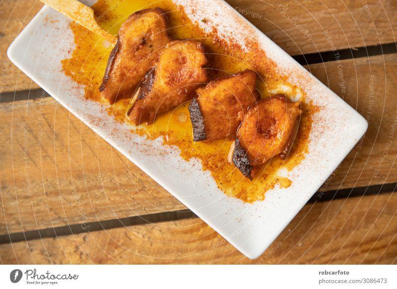 Spanisch Tapa, Meeresfrüchte Abendessen Teller Gabel Restaurant frisch Paprika Mahlzeit Lebensmittel Essen zubereiten aufgespiesst kochen & garen Feinschmecker