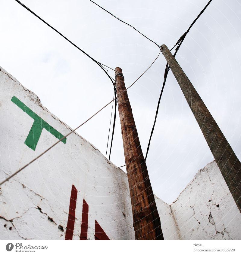 Halswirbelsäulentraining (XVI) Dienstleistungsgewerbe Energiewirtschaft Technik & Technologie Hochspannungsleitung Kabel Oberleitung Strommast Gomera Ruine