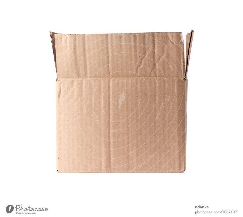 braune rechteckige Schachtel aus Karton kaufen Post Business Verkehr Container Rudel Papier Verpackung Paket weiß beige blanko Kasten Ladung offen liefern