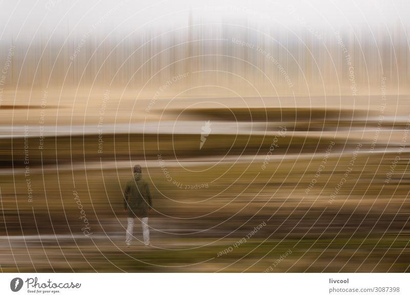 Mann bei der Beobachtung der Wintertraumlandschaft in einem Sumpf, Frankreich Lifestyle Mensch Erwachsene Natur Landschaft Urelemente Sand Himmel Wolken Moos
