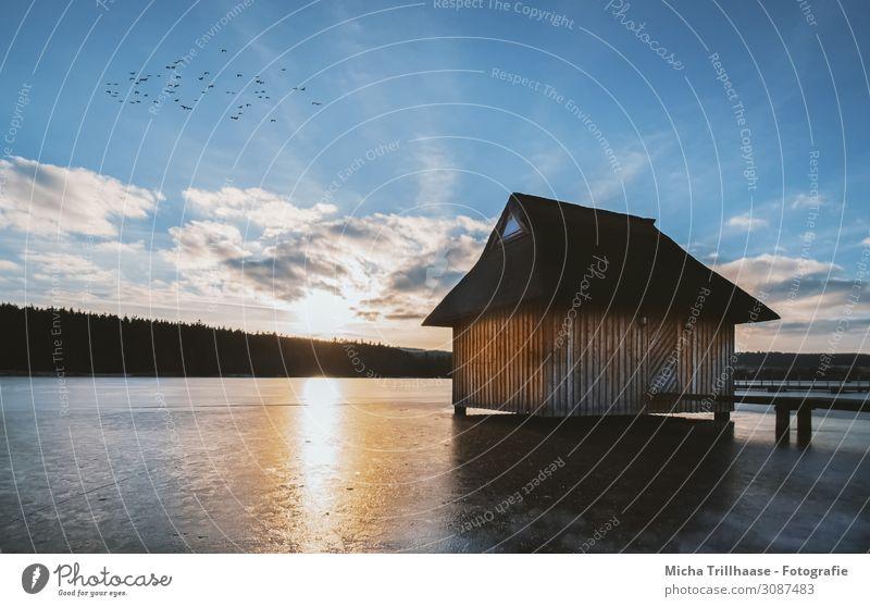 Holzhütte am gefrorenen See Ferien & Urlaub & Reisen Tourismus Sonne Winter Landschaft Wasser Himmel Wolken Sonnenaufgang Sonnenuntergang Sonnenlicht