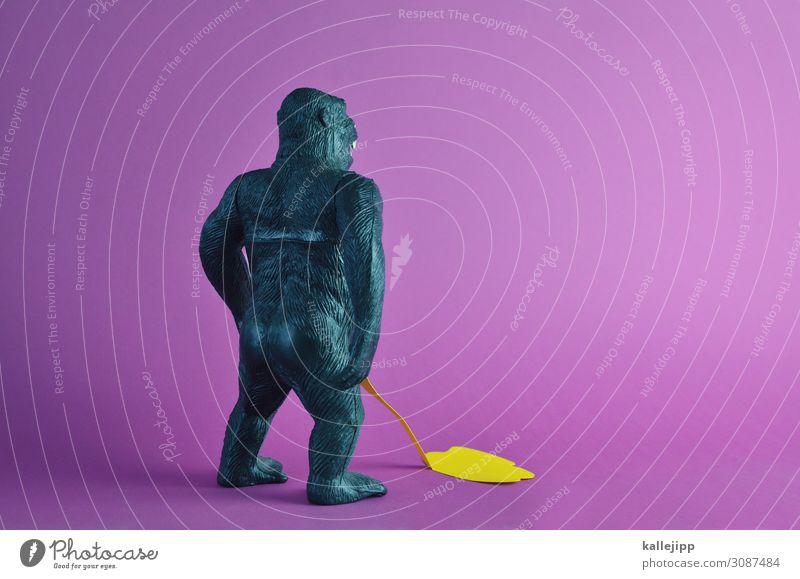urinprobe Tier Wildtier 1 stehen urinieren Affen Menschenaffen Urin lustig Spielzeug spielzeugtier Hinterteil Rücken Kraft King Kong Farbfoto mehrfarbig