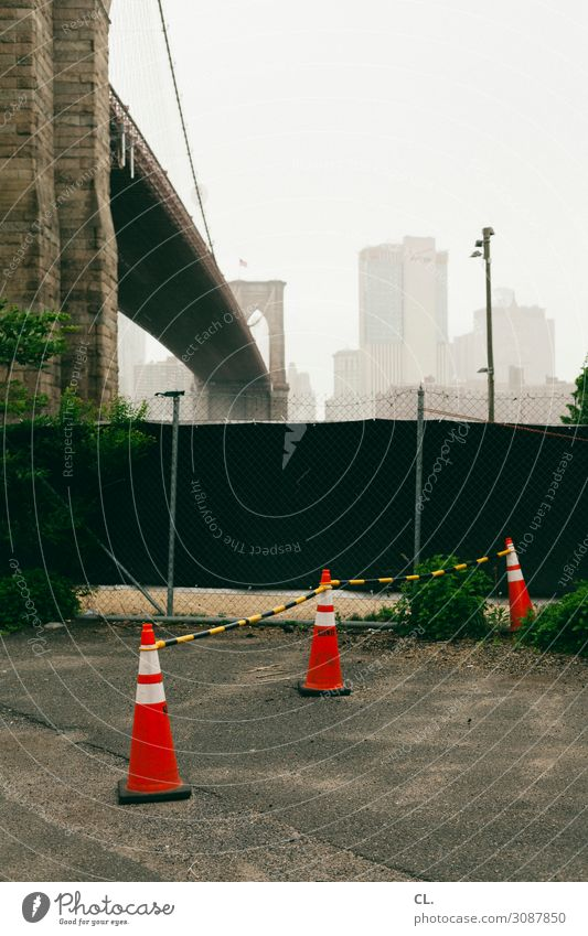 brooklyn Baustelle New York City Brooklyn Brooklyn Bridge Stadt Menschenleer Brücke Bauwerk Gebäude Architektur Verkehr Verkehrsmittel Verkehrswege Wege & Pfade
