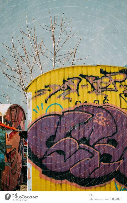 container love Stadt Baum Graffiti Wand Mauer dreckig authentisch Container Bauwagen