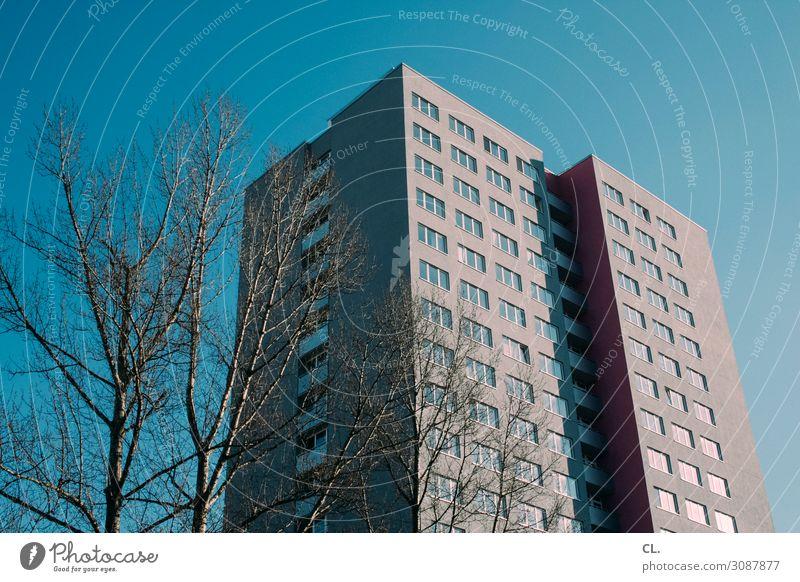 block 2 Wolkenloser Himmel Schönes Wetter Baum Stadt Menschenleer Haus Hochhaus Gebäude Architektur Mauer Wand Fassade groß hoch Häusliches Leben Farbfoto