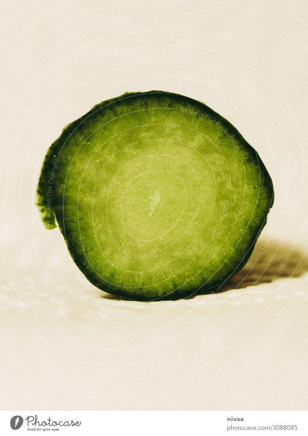 Querschnitt einer Gurke Farbe schön grün Wasser Gesundheit Lebensmittel Essen natürlich Zufriedenheit Ernährung frisch Wachstum Fitness kaufen Gemüse
