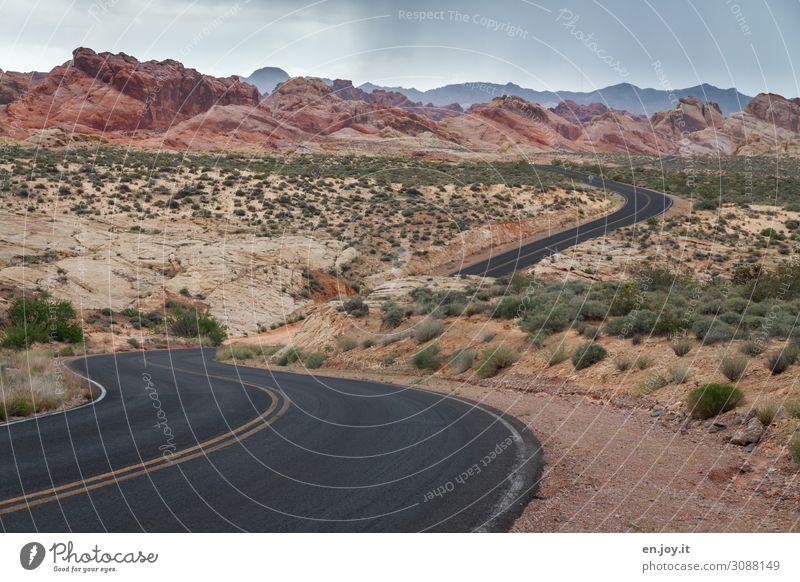 Strasse durch bunte Sandstein Felsen im Valley of Fire Valley of Fire State Park Nevada Usa Amerika Nordamerika Sandsteinformation Felsformation Bunt Erosion