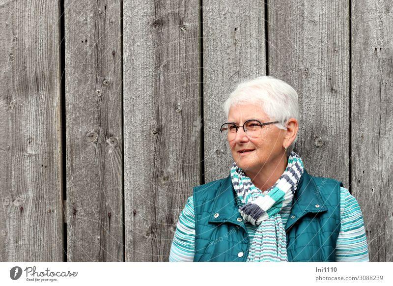 Seniorin lächelt freundlich feminin Weiblicher Senior Frau Leben Kopf Haare & Frisuren 1 Mensch 60 und älter Holzwand Ohrringe Brille grauhaarig weißhaarig