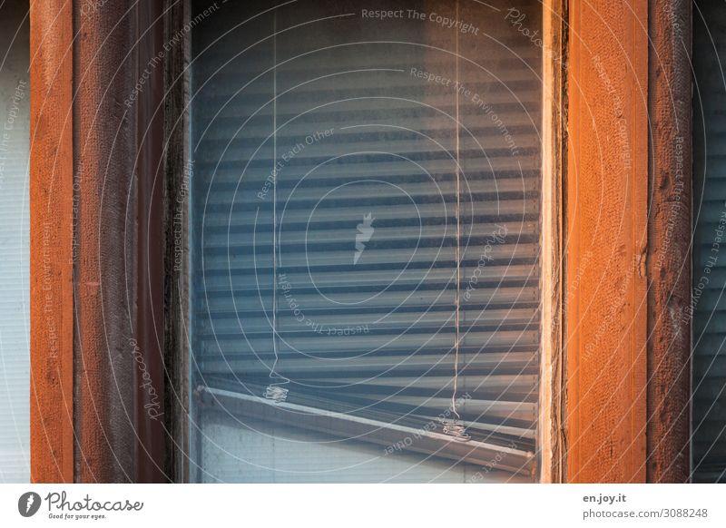 Schräg hängende Jalousie Sichtschutz Sonnenschutz Geschlossen Schatten Licht Glasscheibe Rafrolladen Raffrollo Rollo Faltrolladen Rollladen Alt Schmutz Fabrik