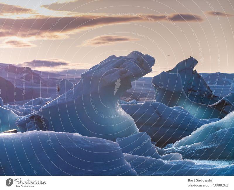 Eisberge bei Sonnenuntergang Meer Umwelt Natur Landschaft Wasser Sonnenaufgang Klima Klimawandel Frost Gletscher Bucht frisch Sauberkeit schön exotisch