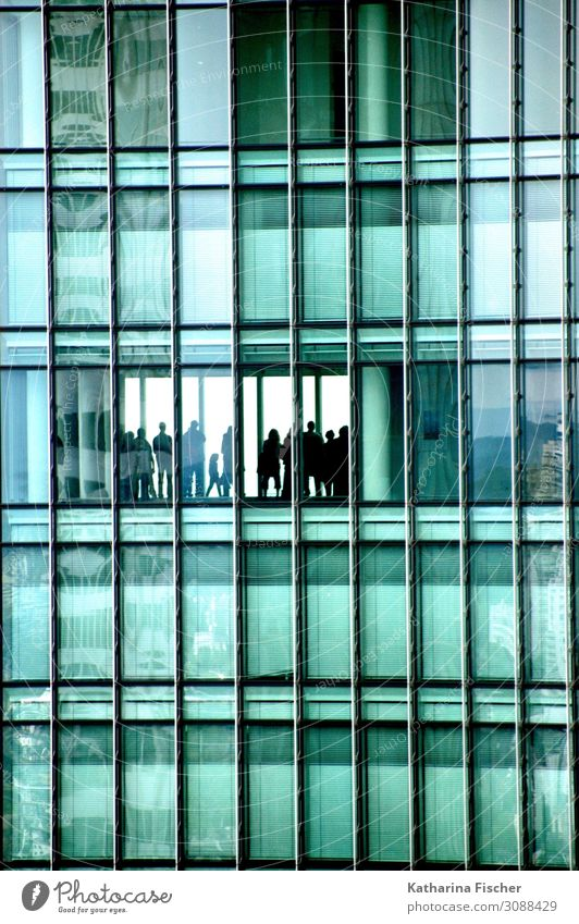 Fassade FFM am Main Stadt Stadtzentrum Haus Hochhaus Bankgebäude Bauwerk Gebäude Architektur außergewöhnlich Coolness glänzend grün schwarz türkis weiß