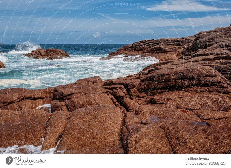 Rosa Granitküste Lifestyle Ferien & Urlaub & Reisen Tourismus Sommer Sommerurlaub Strand Meer Umwelt Natur Landschaft Sand Sturm Felsen Wellen Küste Seeufer